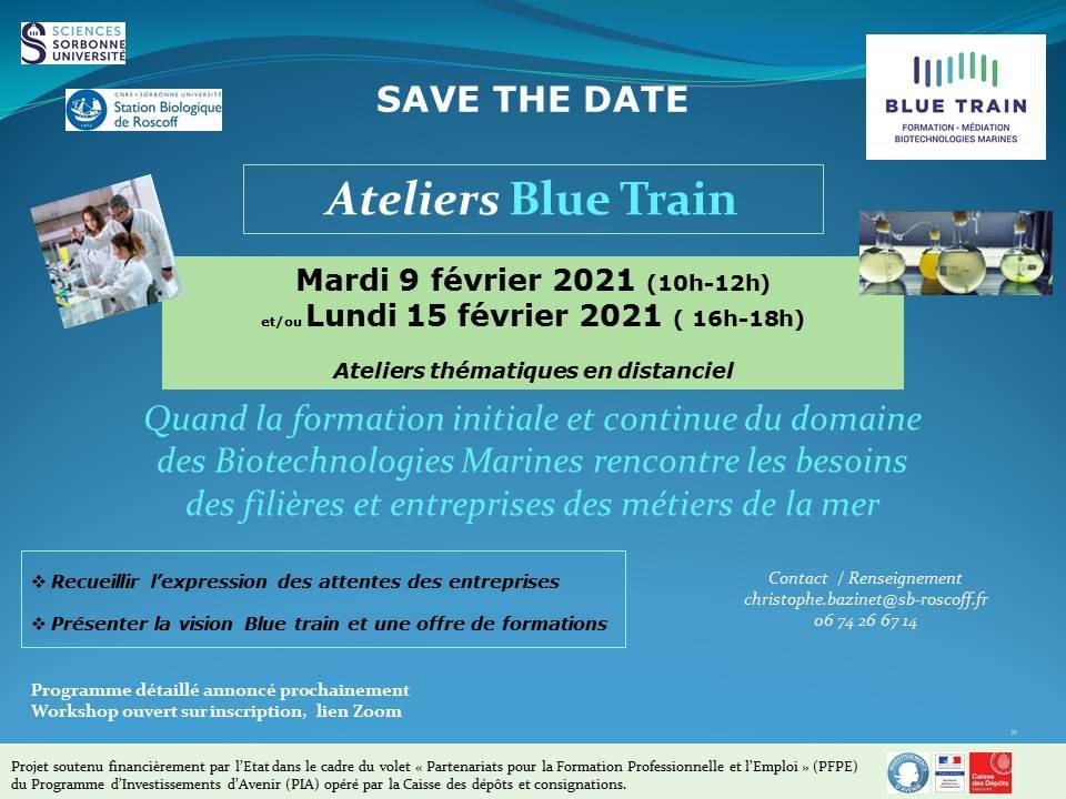 Save the date Ateliers Blue Train - 9 & 15 février 2021