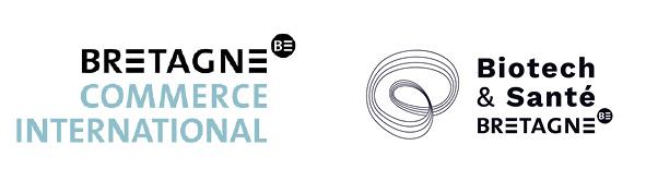 Logos Bretagne commerce international et Biotech Santé Bretagne