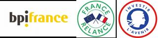 Logos bpifrance, France relance et Investir l'avenir