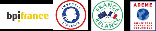 Logos bpifrance, investir l'avenir, france relance et ademe