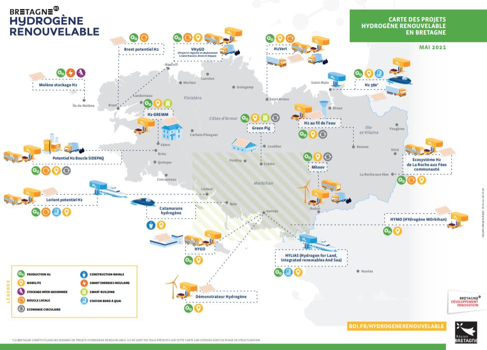 Carte de l'hydrogène en Bretagne